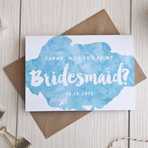Personalised 'Be My Bridesmaid? Card - watercolour styling for weddings