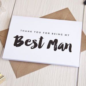 'Thank You For Being My Best Man' Card - wedding cards