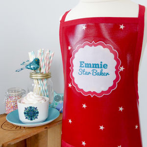 Red 'Star Baker' Personalised Oilcloth Apron - shop by price