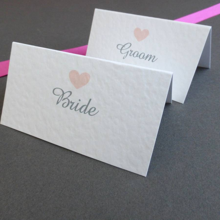 Personalised love heart place cards by edgeinspired for Personalized wedding place cards