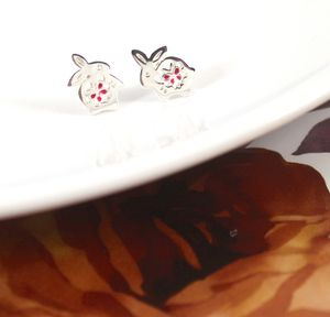 Bunny Rabbit Earrings In Sterling Silver - summer sale