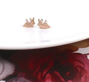 Rabbit Earrings In Sterling Silver Rose Gold Vermeil