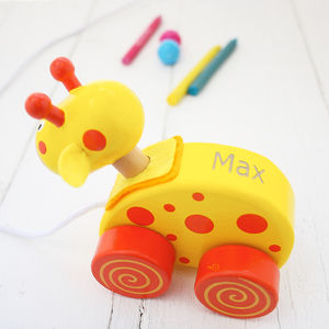 Personalised Giraffe Wooden Pull Along Toy