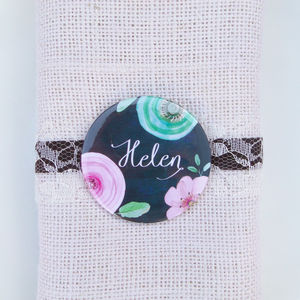 Black Floral Wedding Favour Mirror And Place Setting