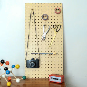 Pegboard Storage Board With Wooden Pegs