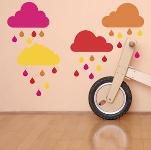 Colourful Rain Clouds Fabric Wall Stickers - wall stickers
