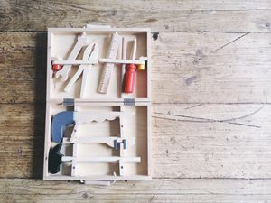 Children's Wooden Tool Box And Tools