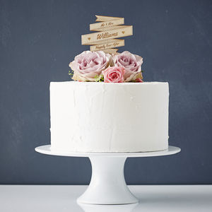 Personalised Wooden Banner Wedding Cake Topper - cakes & treats