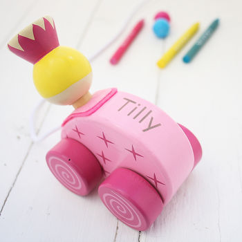 Personalised Princess Wooden Pull Along Toy