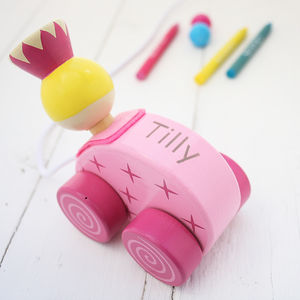 Personalised Princess Wooden Pull Along Toy - for under 5's