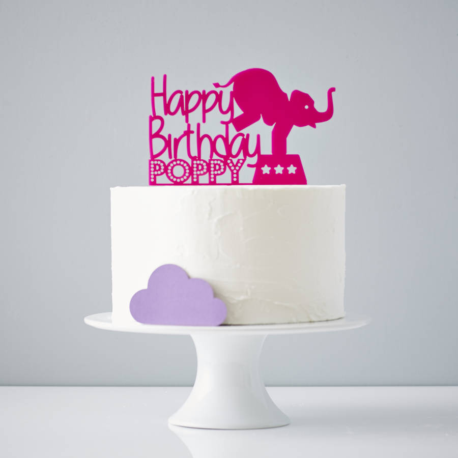 circus elephant personalised birthday cake topper by ...