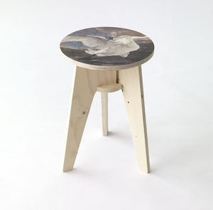 Threatened Swan Plywood Print Stool - furniture