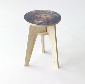 Self Portrait Van Gogh Plywood Print Stool - furniture