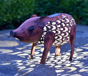 Metal Silhouette LED Solar Garden Light / Pig