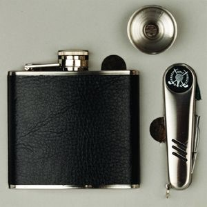 Hip Flask Set With Golf Tool Black Wrap Stainless Steel