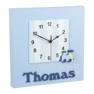 Personalised Blue Train Clock - children's room accessories