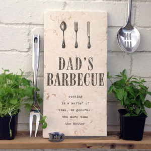 'Dad's Barbecue' Stone Print - art & decorations