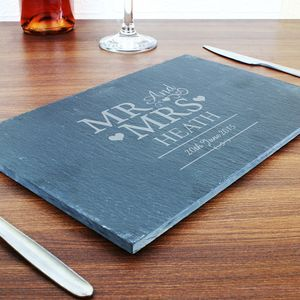 Personalised Mr And Mrs Slate Board - placemats & coasters