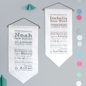 Personalised Baby Story Fabric Hanging - christening gifts