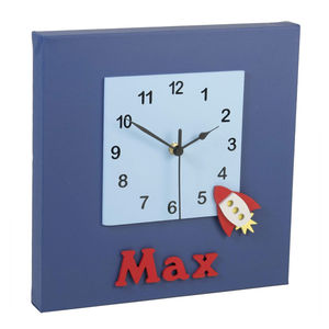 Personalised Red Rocket Clock