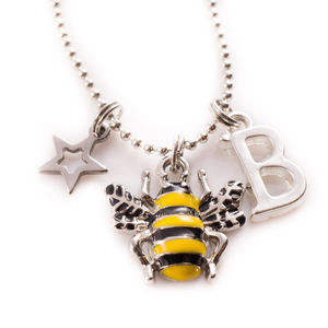 Enamel Bee Charm Necklace - more