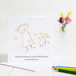 Childs Drawing Thank You Teacher Card