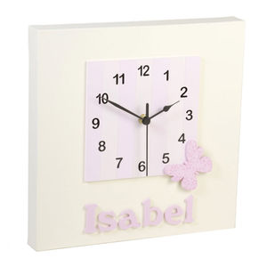 Personalised Cream And Pink Butterfly Clock - children's room accessories
