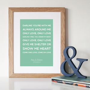 Personalised First Dance Song Lyrics Print - 100 best wedding prints