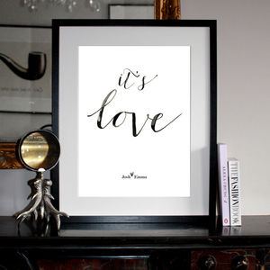 Personalised 'It's Love' Typographic Print