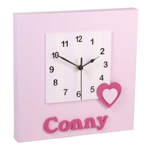 Personalised Pink Heart Clock - children's clocks
