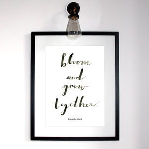 Bloom And Grow Together Typographic Print - contemporary art