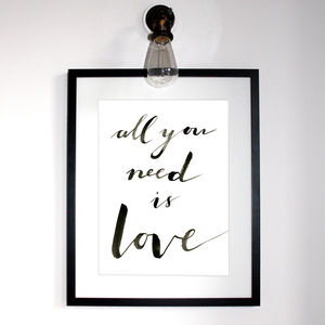 All You Need Is Love Typographic Print