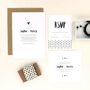 Sophie Heart Wedding Stationery - invitations