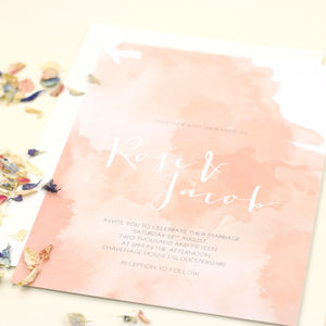 Rose Watercolour Wedding Stationery - invitations