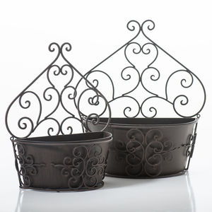 Curved Steel Wall Planter - gardening