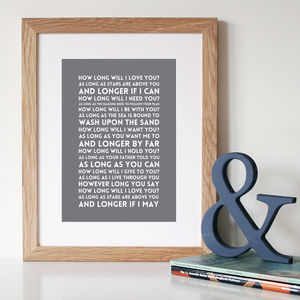'How Long Will I Love You?' Song Lyric Art - canvas prints & art