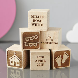 Personalised Christening Heart Building Block - keepsakes