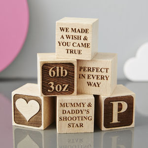 Personalised Christening Heart Building Block - baby toys