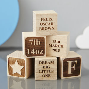 Personalised Christening Star Building Block - gifts for babies