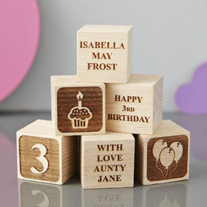Personalised Birthday Building Block - new baby keepsakes