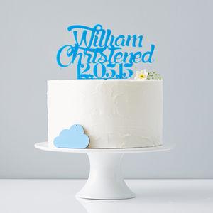 Personalised Boys Christening Cake Topper
