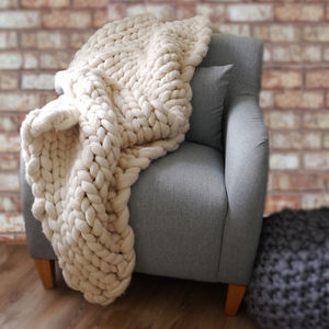 Woolacombe Super Chunky Hand Knitted Throw - new home gifts