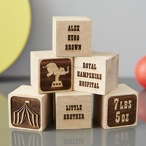 Personalised Baby Keepsake Circus Building Blocks - traditional toys & games
