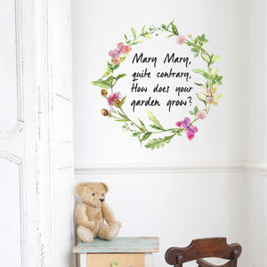 'Mary Mary, Quite Contrary' Floral Wall Sticker