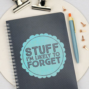 'Stuff I'm Likely To Forget' Notebook In Blue - stationery-lover