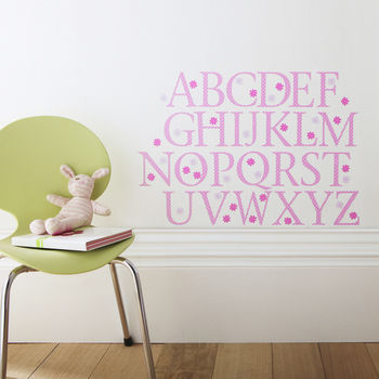 Pink Polka Alphabet Wall Stickers Upper And Lower Case