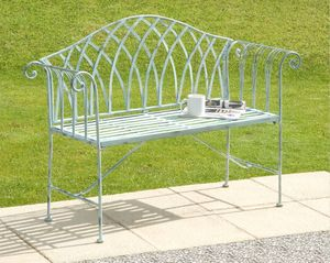 Bicester White Cast Iron Bench - garden furniture