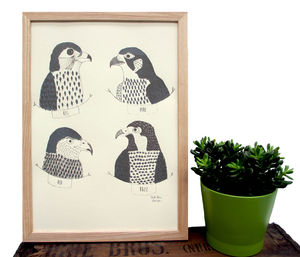 Art Print 'Birds Of Prey' A Two Colour Screen Print