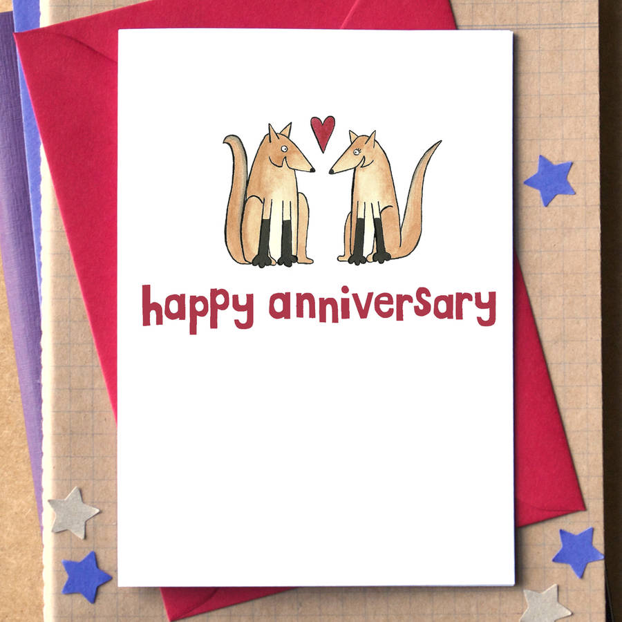 Foxes Happy Anniversary Card By Becka Griffin Illustration Notonthehighstreet Com