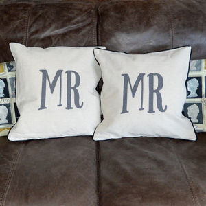 Pair Of Mr And Mr Same Sex Cushions - decorative accessories